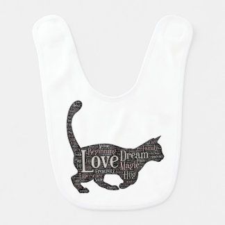 Cute and inspirational Baby Bib with black cat