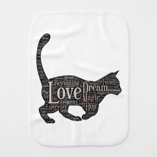 Cute and inspirational Burp Cloth with black cat
