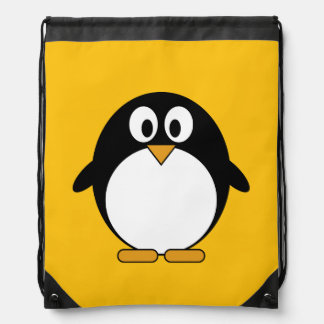 Cute and Modern Cartoon Penguin Drawstring Bag