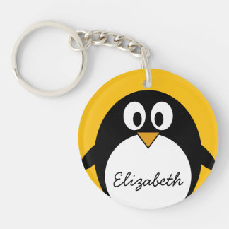 Cute and Modern Cartoon Penguin Key Ring