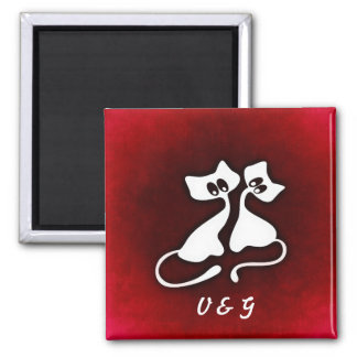 Cute and Romantic Cat Lovers with your initial Square Magnet