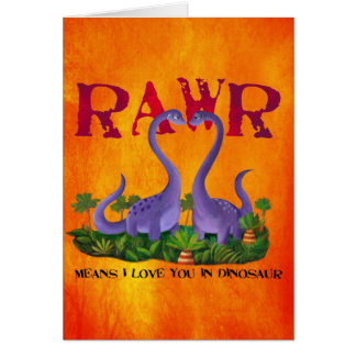 Cute and Romantic Dinos - Rawr Greeting Card