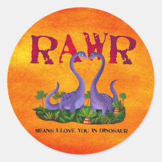 Cute and Romantic Dinos - Rawr Round Sticker