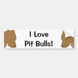 Cute and Sad Pit Bull's Portrait - Line Art Car Bumper Sticker