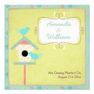 Cute And Shabby Birds And Birdhouse Wedding Custom Invitation