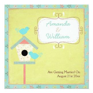 Cute And Shabby ~ Birds And Birdhouse Wedding Custom Invitation