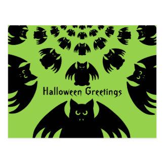 Cute and silly black Halloween bats Postcard