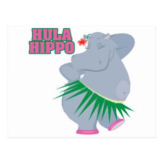 cute and silly luau hula hippo postcard