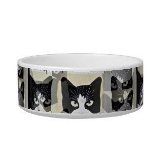 Cute and unique Black and White cat food bowll Pet Water Bowls