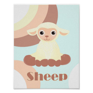 Cute and unique cartoon sheep nursery poster