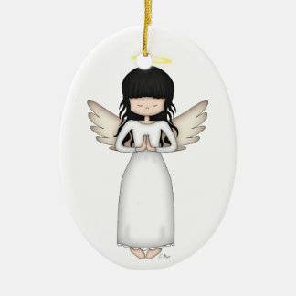 Cute and Whimsical Angel Girl with Halo Christmas Ornament