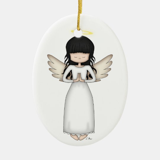 Cute and Whimsical Angel Girl with Halo Christmas