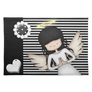 Cute and Whimsical Angel on Black n White Stripes Placemat