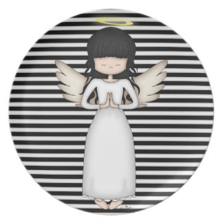 Cute and Whimsical Angel on Black n White Stripes Plate