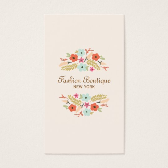 Cute and Whimsical Flower Bouquet Boutique Peach Business Card