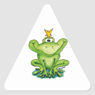 Cute and whimsical Frog Prince by Gerda Steiner Triangle Sticker