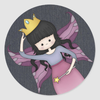 Cute and Whimsical Little Fairy Princess Girl Round Sticker