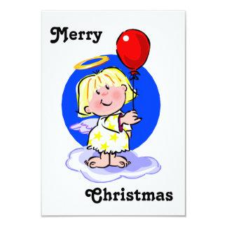 Cute Angel And Red Balloon 9 Cm X 13 Cm Invitation Card
