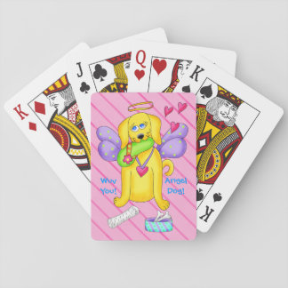 Cute Angel Dog Personalized Name Pink Playing Cards