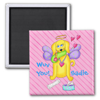 Cute Angel Dog Personalized Name Pink Square Magnet