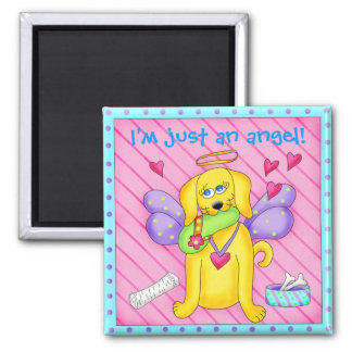 Cute Angel Dog with Wings on Pink Square Magnet