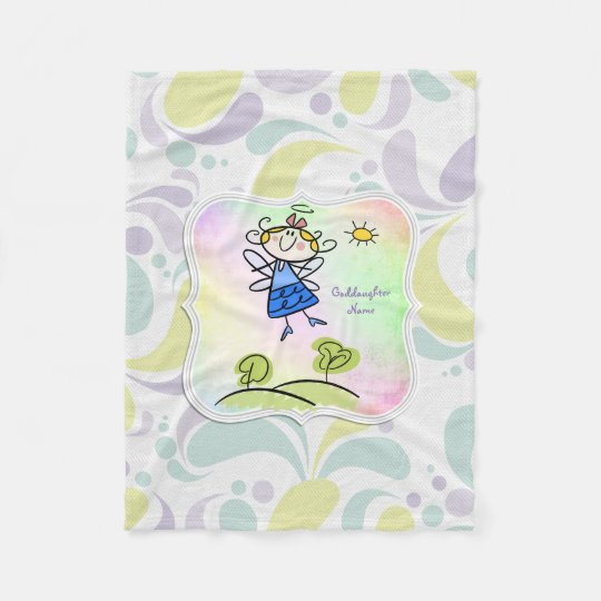 Cute Angel Goddaughter Gifts Personalised Fleece Blanket