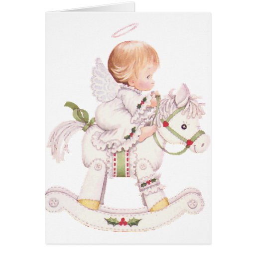 Cute Angel on a White Christmas Rocking Horse Greeting Cards