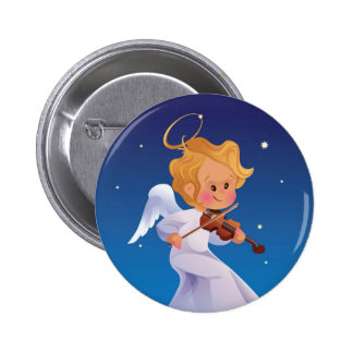 Cute angel playing violin 6 cm round badge