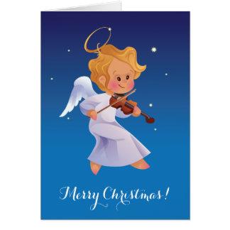 Cute angel playing violin card