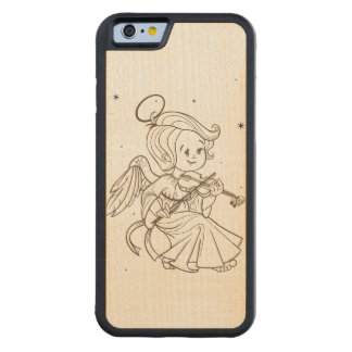 Cute angel playing violin carved maple iPhone 6 bumper case