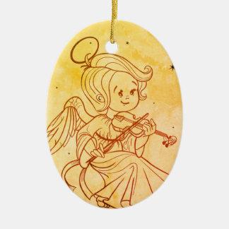 Cute angel playing violin ceramic oval decoration