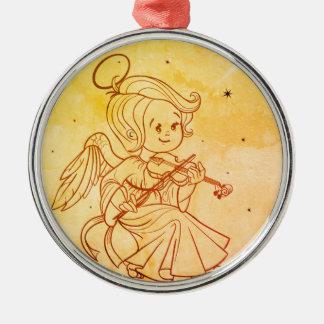 Cute angel playing violin christmas ornament