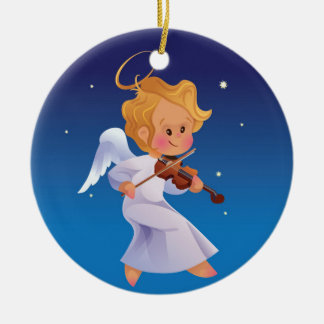 Cute angel playing violin christmas ornament