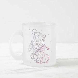 Cute angel playing violin frosted glass coffee mug