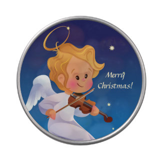 Cute angel playing violin jelly belly tin