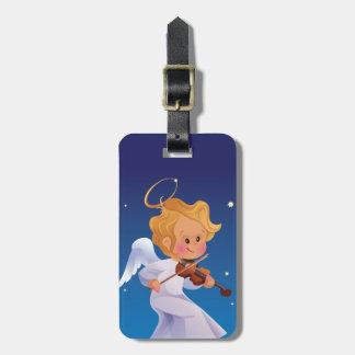 Cute angel playing violin luggage tag