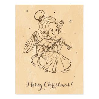 Cute angel playing violin postcard