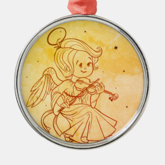 Cute angel playing violin Silver-Colored round decoration