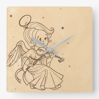 Cute angel playing violin square wall clock