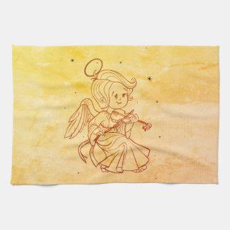 Cute angel playing violin tea towel