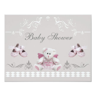 Cute Angel Teddy & Ballet Shoes Baby Shower Card