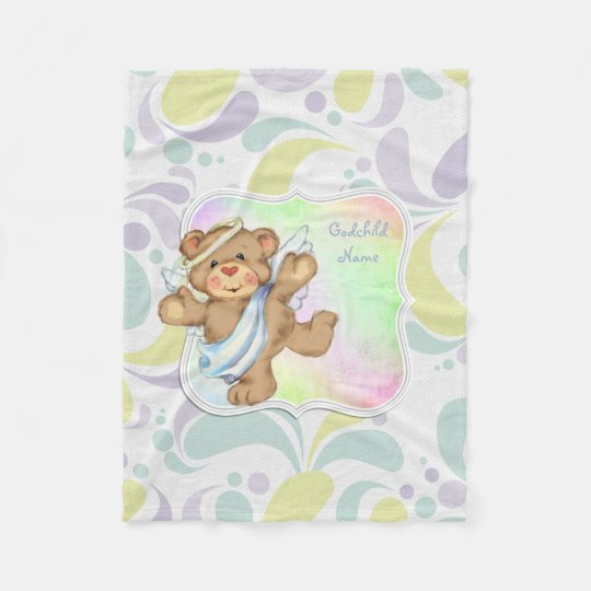 Cute Angel Teddybear Godchild Gifts Personalised Fleece Blanket
