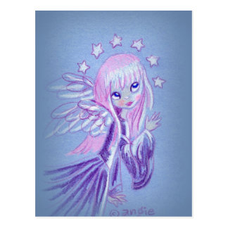 Cute Angel With Pink Hair Postcard