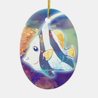 Cute Angelfish Ceramic Oval Decoration