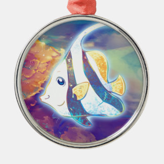 Cute Angelfish Silver-Colored Round Decoration