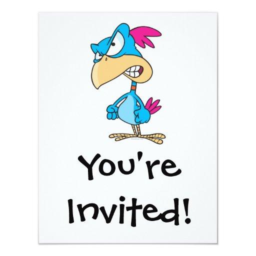 cute angry mean bird cartoon character 11 cm x 14 cm invitation card