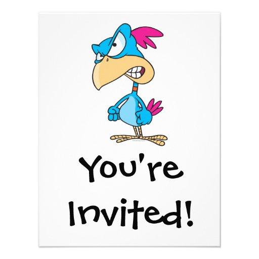 cute angry mean bird cartoon character custom invitations