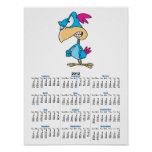 cute angry mean bird cartoon character poster