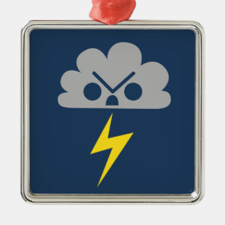 Cute Angry Storm Cloud with Lightning Bolt Christmas Ornaments