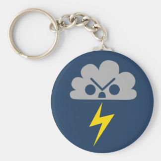 Cute Angry Storm Cloud with Lightning Bolt Keychains